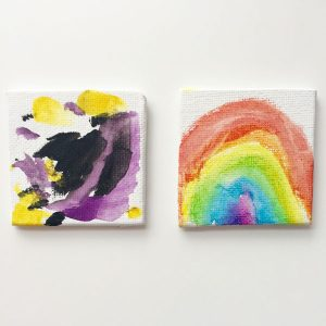 "See a world of wonder through the eyes of a young artist. These 2"" original art canvas boards have been lovingly painted and titled by budding artists aged 2-5."