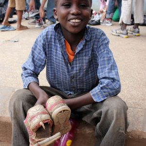 Spread some joy by giving a pair of shoes to a person in need. Soles4Souls fights poverty by collecting new and used shoes, and distributing them to people in need.